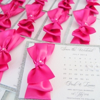 pink silver save the date cards