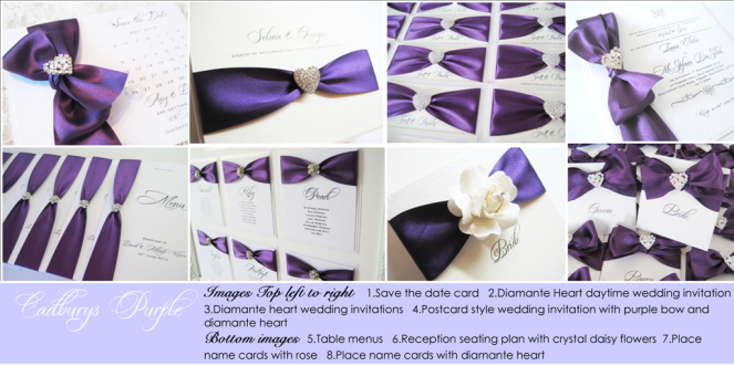 Cadburys purple wedding invitations and stationery