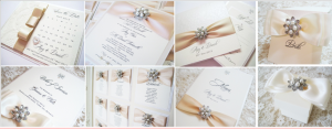wedding invitations with pearl brooches