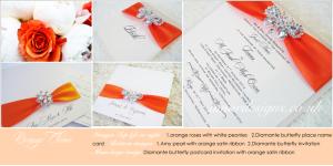 orange wedding invitation cards