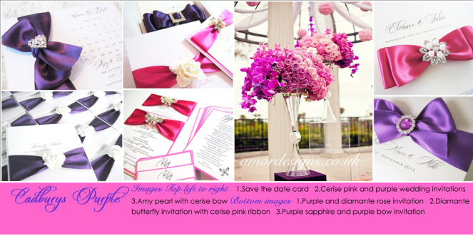 Cerise pink and purple wedding invitations