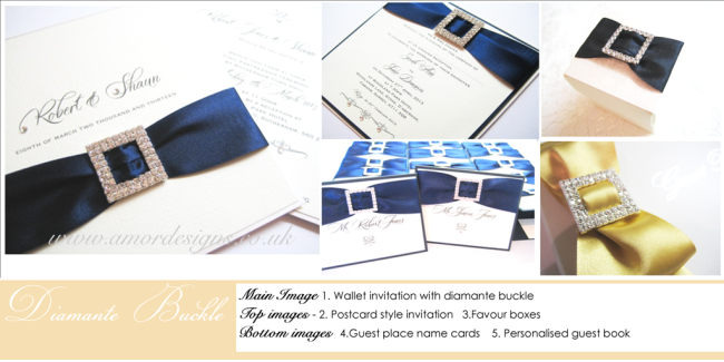 diamante bukcle wedding invitations