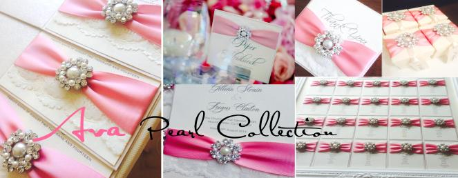 Timeless wedding invitations with pearl brooch