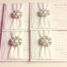 Luxury White save the date cards with white lace