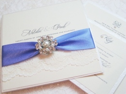 wedding invitations with lace and pearls