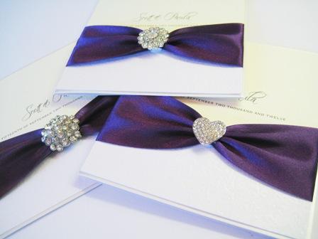 Cadburys purple wedding invitations