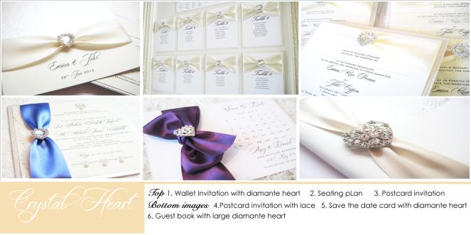 Crystal heart wedding stationery