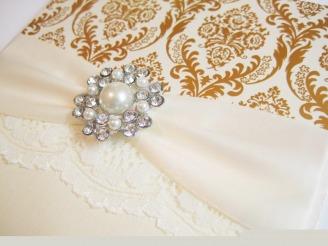 Gold and Ivory Luxury wedding invitation