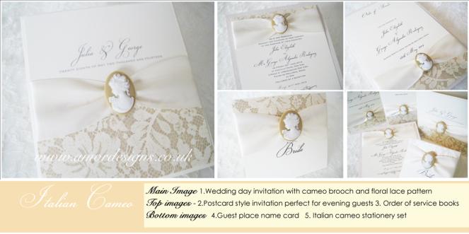 Italian cameo wedding stationery