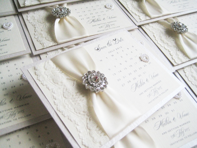 save the date cards with lace and diamante
