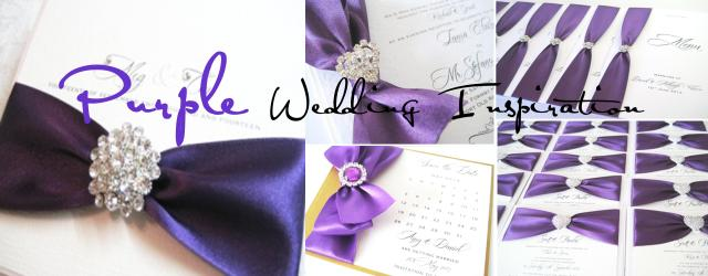 Purple wedding invitations and stationery