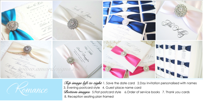 Diamante wedding stationery