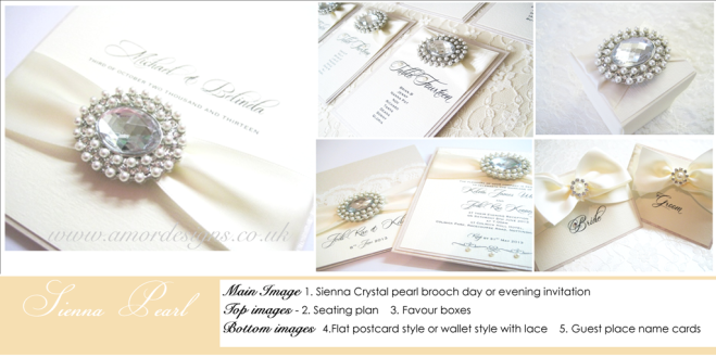 Luxury vintage pearl wedding stationery