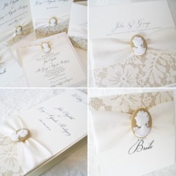 cameo and pearl italian style wedding invitations
