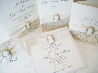 Cameo wedding stationery with pearls