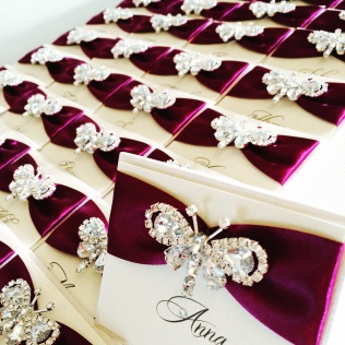 Butterfly place name cards with diamante butterfly