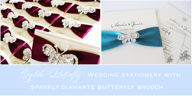Diamante crystal wedding stationery