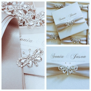 Crystal butterfly luxury wedding invitation