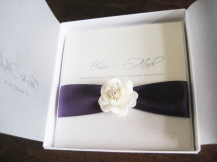 Luxury boxed wedding invitation with crystal rose