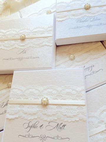 personalised wedding invitation boxes with lace and pearl