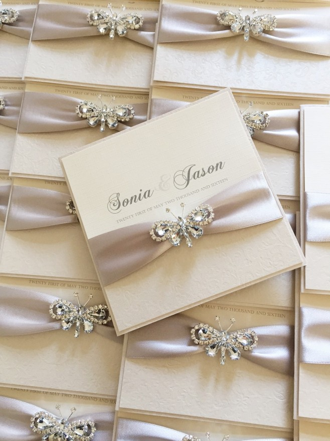 Luxury butterfly wedding invitations