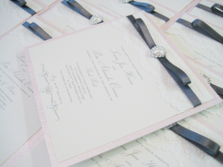 Simple flat wedding invitations with ribbon and pearl heart