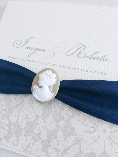 navy and brown wedding invitations with cameo