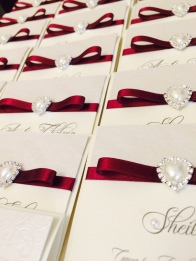 Pearl heart place name cards