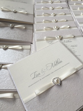 Ivory and pearl wedding invitations