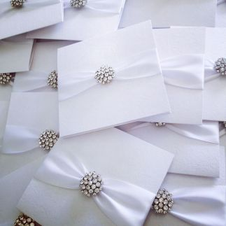 sparkly crystal wedding invitations in white