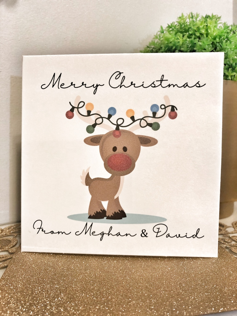 Cute personalised Rudolph Christmas cards