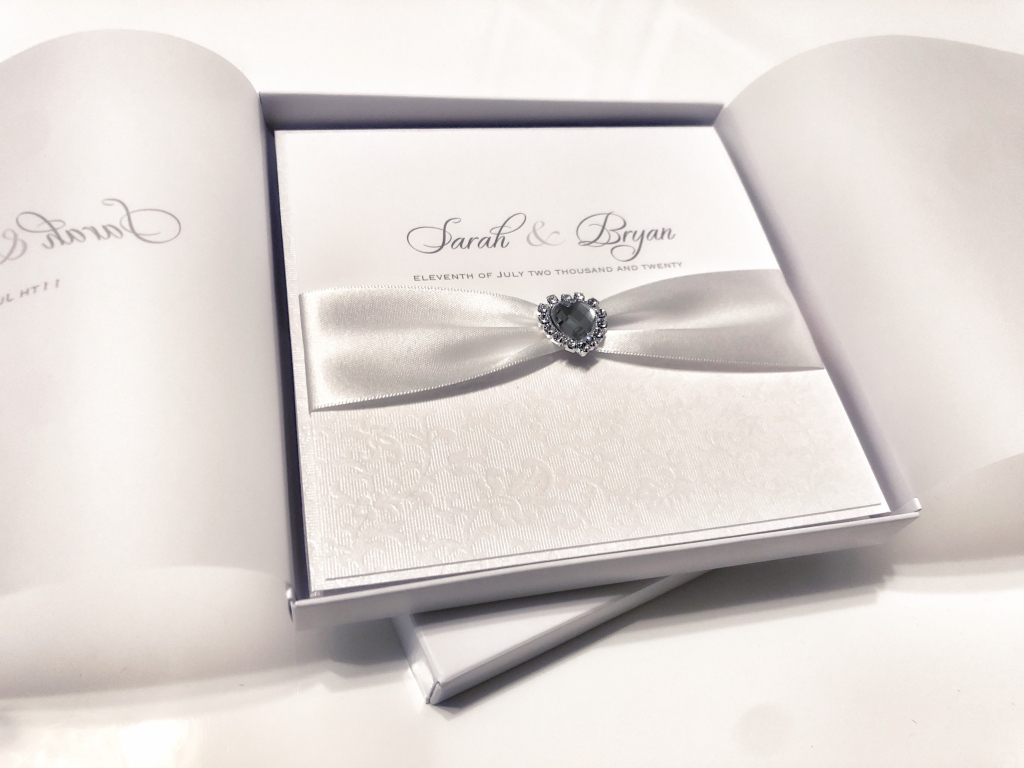 Boxed crystal heart wedding invitation